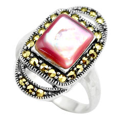 925 sterling silver 5.12cts natural pink pearl fine marcasite ring size 10 c2751