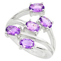 925 sterling silver 5.18cts natural purple amethyst oval ring size 5.5 p73216