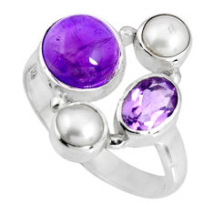 925 sterling silver 6.53cts natural purple amethyst pearl ring size 7 p90697