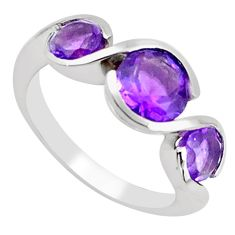 925 sterling silver 5.16cts natural purple amethyst ring jewelry size 8 p62364