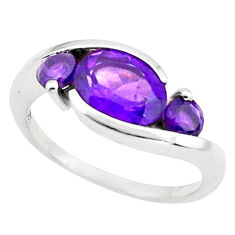 925 sterling silver 3.93cts natural purple amethyst ring jewelry size 7.5 p73047