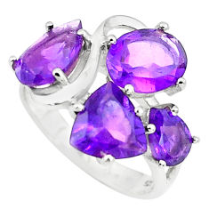 925 sterling silver 4.73cts natural purple amethyst ring jewelry size 7.5 p73158