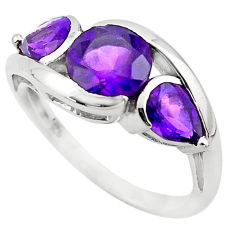 925 sterling silver 6.39cts natural purple amethyst ring jewelry size 5.5 p83464