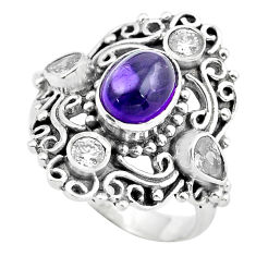 925 sterling silver 5.16cts natural purple amethyst topaz ring size 8 p55951
