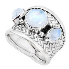 925 sterling silver 5.42cts natural rainbow moonstone round ring size 6.5 p33360