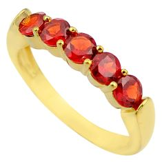 925 sterling silver 3.32cts natural red garnet 14k gold ring size 8 c4319