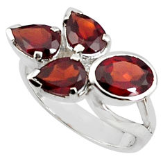 925 sterling silver 7.07cts natural red garnet oval ring jewelry size 6.5 p81650