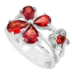 925 sterling silver 5.53cts natural red garnet pear ring jewelry size 5.5 p37184