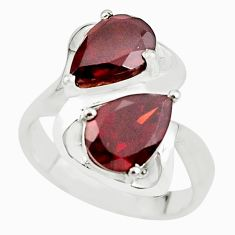 925 sterling silver 5.68cts natural red garnet pear ring jewelry size 8.5 p62095