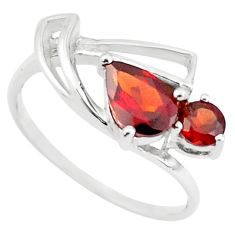 925 sterling silver 2.22cts natural red garnet pear ring jewelry size 7.5 p73164