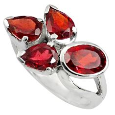 925 sterling silver 6.62cts natural red garnet ring jewelry size 8.5 p81779