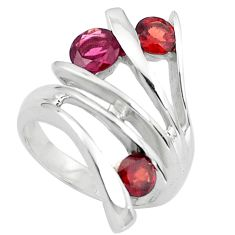 925 sterling silver 2.76cts natural red garnet ring jewelry size 6.5 p82967
