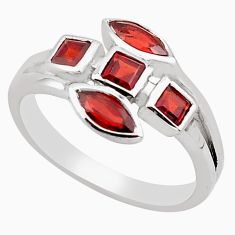 925 sterling silver 2.53cts natural red garnet ring jewelry size 7.5 p83288