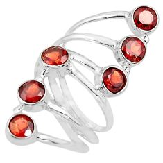 925 sterling silver 5.30cts natural red garnet round ring jewelry size 8 p77764