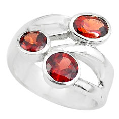 925 sterling silver 3.83cts natural red garnet round ring size 5.5 p62336