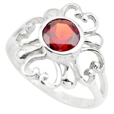 925 sterling silver 1.34cts natural red garnet round ring size 6.5 p73432