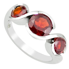925 sterling silver 4.69cts natural red garnet round shape ring size 5.5 p62376