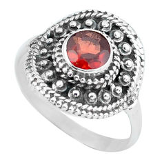 Clearance Sale- 925 sterling silver 1.48cts natural red garnet solitaire ring size 7.5 d32072