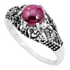 925 sterling silver 2.40cts natural red garnet solitaire ring size 9 p36089