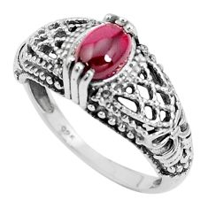 925 sterling silver 1.49cts natural red garnet solitaire ring size 7 p36124