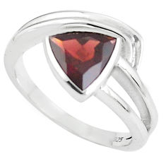 925 sterling silver 3.62cts natural red garnet solitaire ring size 7.5 p62271
