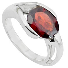 925 sterling silver 4.55cts natural red garnet solitaire ring size 5.5 p62396