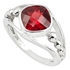 925 sterling silver 3.22cts natural red garnet solitaire ring size 5.5 p81620