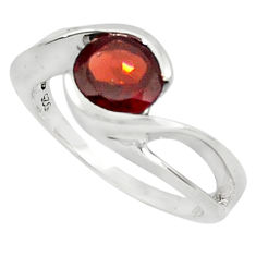 925 sterling silver 2.55cts natural red garnet solitaire ring size 6 p81856