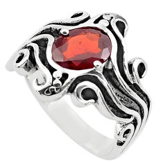 925 sterling silver 3.30cts natural red garnet solitaire ring size 8.5 p82732