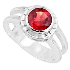 925 sterling silver 2.46cts natural red garnet solitaire ring size 8.5 p82773
