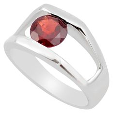 925 sterling silver 2.74cts natural red garnet solitaire ring size 8.5 p83264