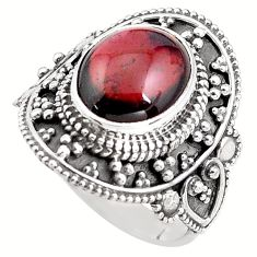 925 sterling silver 5.31cts natural red garnet solitaire ring size 7 p85953