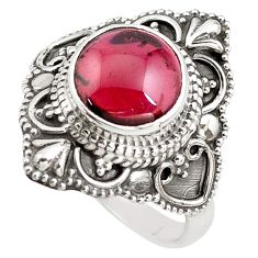 925 sterling silver 4.74cts natural red garnet solitaire ring size 8 p85974