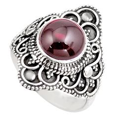 925 sterling silver 4.94cts natural red garnet solitaire ring size 7.5 p86864