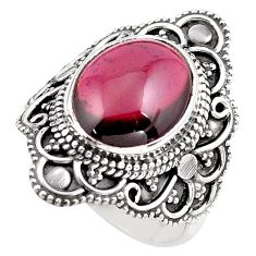 925 sterling silver 5.53cts natural red garnet solitaire ring size 7 p86872