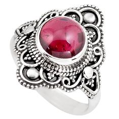 925 sterling silver 4.74cts natural red garnet solitaire ring size 9 p86884