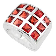 925 sterling silver 5.95cts natural red garnet square ring size 6.5 p37411