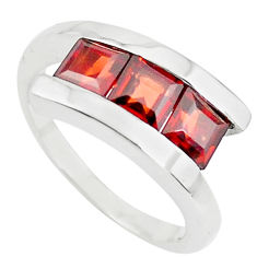925 sterling silver 3.41cts natural red garnet square ring size 8.5 p73063