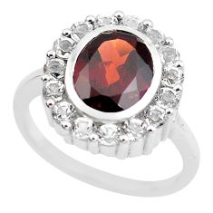 925 sterling silver 7.07cts natural red garnet white topaz ring size 7.5 p62080