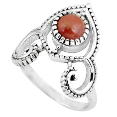 925 sterling silver 1.28cts natural red jasper solitaire ring size 8.5 p57824