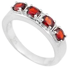 925 STERLING SILVER NATURAL RED RHODOLITE WEDDING BAND RING JEWELRY SIZE 6 H2647