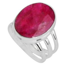 925 sterling silver 10.70cts natural red ruby oval solitaire ring size 7 p89593