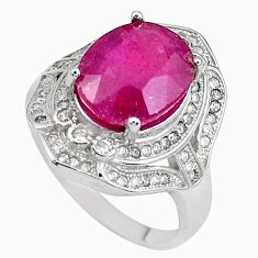 925 sterling silver 7.40cts natural red ruby oval white topaz ring size 7 c2937