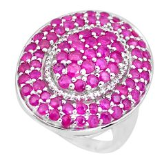 925 sterling silver 6.15cts natural red ruby round ring jewelry size 9 c3848
