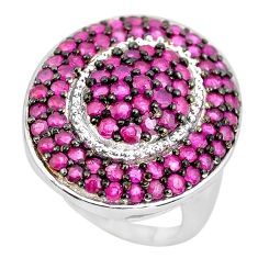 925 sterling silver 6.42cts natural red ruby round ring jewelry size 7 c3852