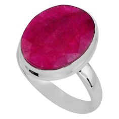 925 sterling silver 9.99cts natural red ruby solitaire ring size 7.5 p89607