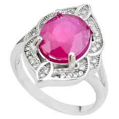 925 sterling silver 5.57cts natural red ruby topaz ring jewelry size 6.5 c2047