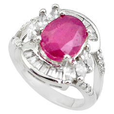 925 sterling silver 6.31cts natural red ruby topaz ring jewelry size 6 c2094