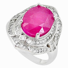 925 sterling silver 6.26cts natural red ruby topaz ring jewelry size 6 c2097