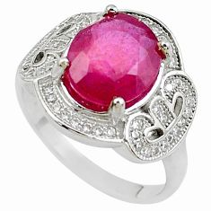 925 sterling silver 6.01cts natural red ruby topaz ring jewelry size 8 c2104